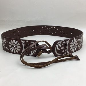 J Crew Leather Floral Embroidered Tie Belt Size L